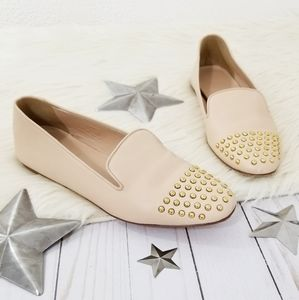 J. Crew Darby studded toe cap loafers nude gold 8